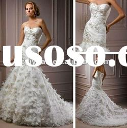 2012 new style custom made tulle hand made flower beaded sweetheart Exquisite Bridal Wedding Dress