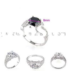 2012 new style plated white gold copper ring with stone 190305