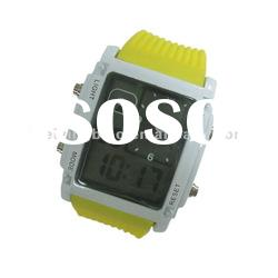 2012 stainless steel back water resistant led watch with Red and blue light