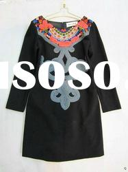 2012 trendy fashion branded collar plate flower hand flowers long sleeve knit cotton dresses