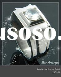 316l stainless steel ring with cystal