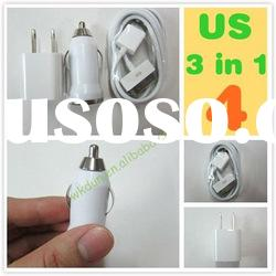 3 in 1 mini usb car charger ,mini usb power adapter and usb cable for iphone 3G,3GS,4G,4GS