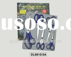 3 pieces Stainless steel scissors set with box stand
