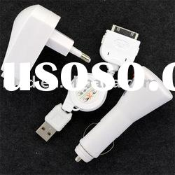 3in1 Wall Car USB Charger Kit for iPhone 3G touch nano charger