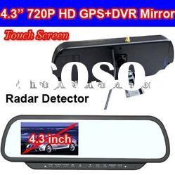 4.3'' Rear View Mirror 720P HD Car Black Box with GPS and Radar Detector
