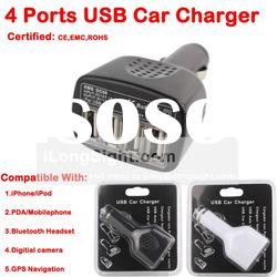 4 port usb car charger for iPhone mobile phone bluetooth headset GPS Navigation