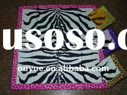Animal printed silk satin scarf