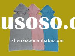 Eco friendly 70%bamboo 30%cotton 260gsm french terry ruffle trimming hoody t shirt