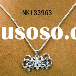 Fashion silver plating alloy flower pendant long necklace