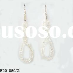Fashion valentine's day gift crystals in gold alloy meshes alloy earrings