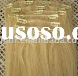Full head Clip in European Remy human hair extensions