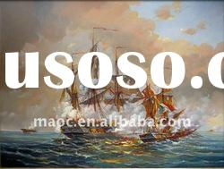 Handmade oil painting canvas sailing ships ans sea