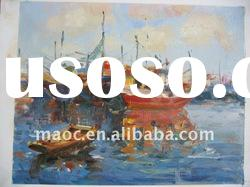 Handmade sea and boat paintings on canvas