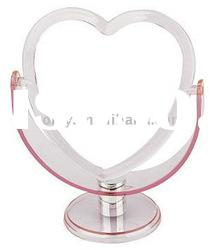 Heart-shape & plastic pink colour double side Cosmetic Mirror