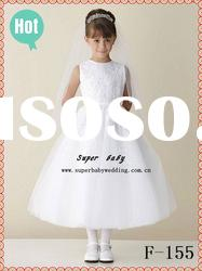 Latest collection sleeveless A-line F-155 white lace fashion flower girl dress