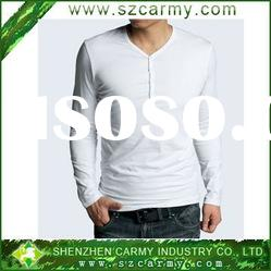 Men's slim fit V necked Lycra cotton comfortable long sleeves T-shirts