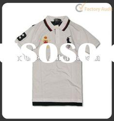 Men's white high quality pique cotton Polo T-shirt with three logos and contrast collar