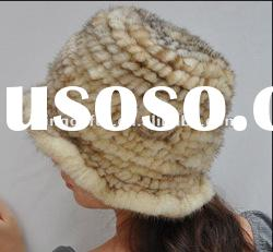 Mink fur hat,Genuine Fashion Handknitted fur hat with flower
