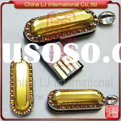 Necklace Jewelry usb stick, crystal pendant usb flash drive, yellow crystal pen dirve