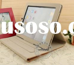 New Luxury Stand Button Smart Genuine Leather Pu Protective Case Cover Pouch for New Apple IPad 3