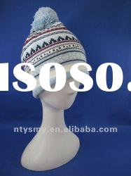 New fashion jacquard knitted hat with pompom
