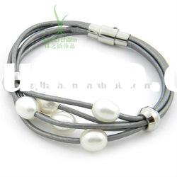 New fashion lines leather bracelet with pearls and Stainless steel buckle PI0602