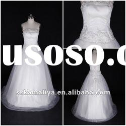 Newest Hot Off White Actual Image Strapless Hand-MadeA-Line Muslim Wedding Gown Wedding Dresses