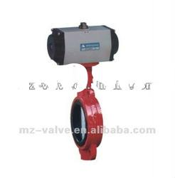 Pneumatic wafer type soft sealed stainless steel butterfly valve