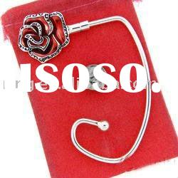 Red Rose Purse Metal Hook Handbag Hanger Bag Valet Holder