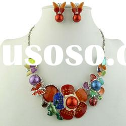 Resin Jewelry Set with Florwer and Butterfly, Red Statement Necklace and Earring