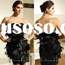 SC1541 Gorgeous black feather dresses short girls party dresses by Terani couture
