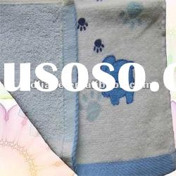 Shearing blue Jacquard plain dyed cotton towel