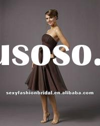 Strapless A-line ruffle corset waist knee length brown bridesmaid dresses