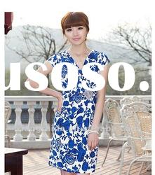 Summer dress 2012 fashion slim mid waist V-neck short-sleeve dress 671013