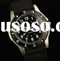 Swiss Design New Mens Black Dial Fabric Strap Outdoor Military Army Watch
