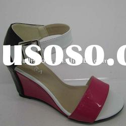 The colourful shinny PU material high heel ladies sandals in stock