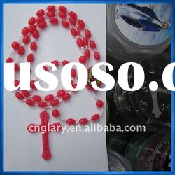 Vintage rosary crucifix string red beads,Rozaniec plastik