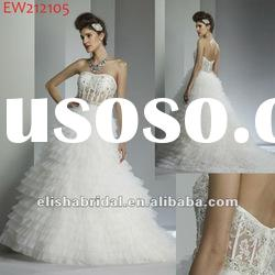 White Strapless Transparent Bodice Croset Ball Gown Tulle Layered Skirt Wedding Dress 2012