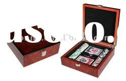 Wooden red poker chip case