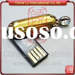 customize crystal usb pen drive necklace, big diamond usb flash drive