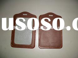 fancy brown leather id badge holder