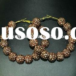 fashion multi brown color resin beads basketball wives hoop earring