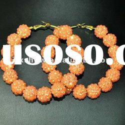 fashion multi orange color resin beads basketball wives hoop earring