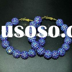 fashion multi violet color resin beads basketball wives hoop earring