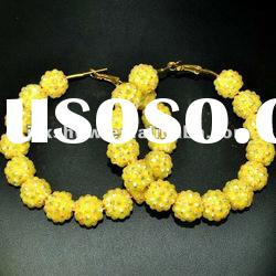 fashion multi yellow color resin beads basketball wives hoop earring
