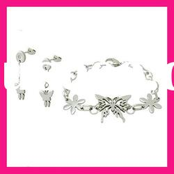 fashion stainless steel butterfly earring and bracelet jewelry set gift items for women