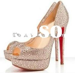 gold crystal peep toe high heel shoes with paltform