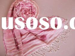 lady fashion solid color 100polyester twill screen print long scarf shawls