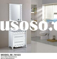 solid wood oak floor standing bathroom vanity cabinet with mirror
