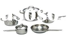 straight shape 9pcs stainless steel cookware set
